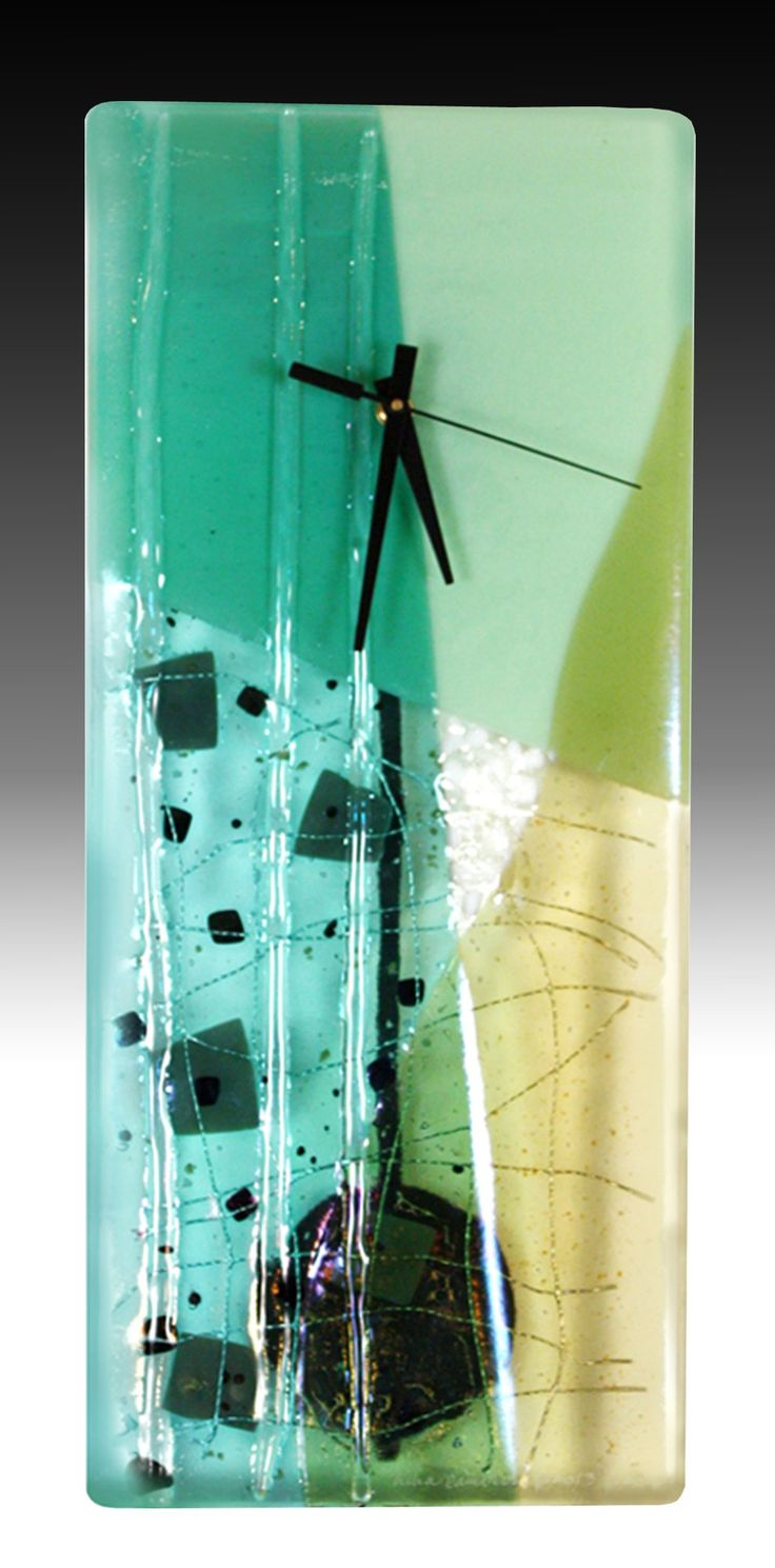 Jadite Pendulum Clock by Nina  Cambron: Art Glass Clock available at www.artfulhome.com