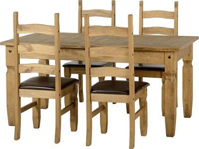 Corona, fixed dining  Set , 4 Black PU Chairs