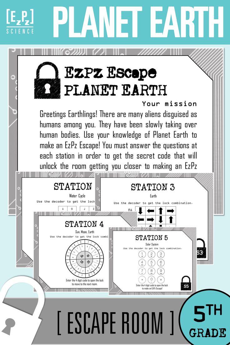 5th Grade Planet Earth Science Escape Room | Earth science ...