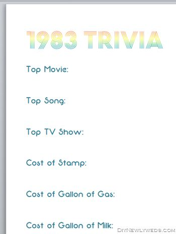 Trivia Game of facts from 50 yrs ago. Have hidden answer sheet. 1971
