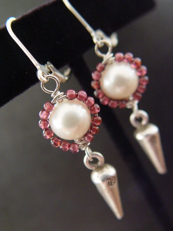 White Freshwater Pearl Tiny Red Garnet by ARAuthenticDesigns, $29.00