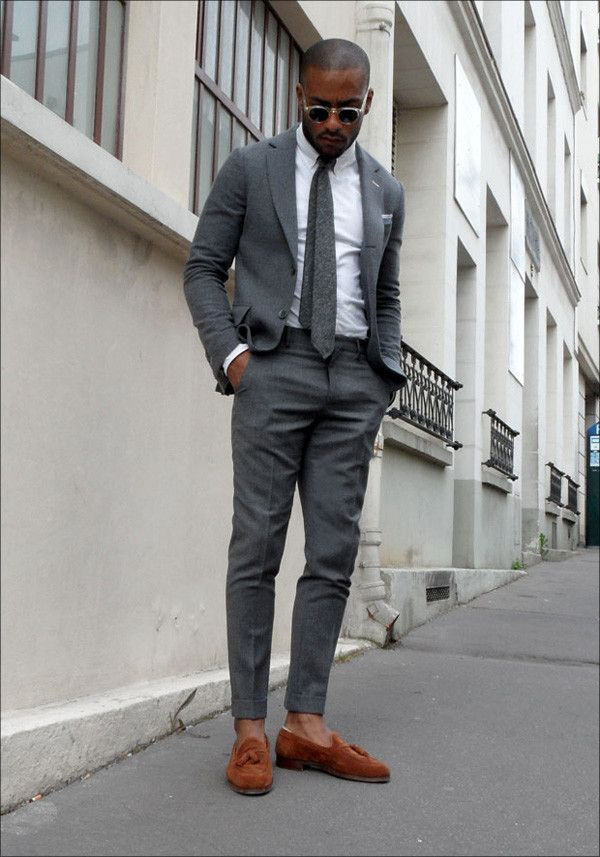 I like how he stopped the outfit from being too grey with the textured tie...this is monochrome done well