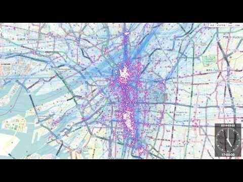大阪市内でのSNS解析データ可視化事例 by Mobmap - YouTube