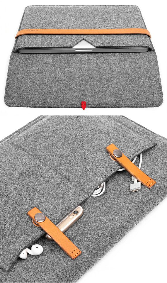 15''Macbook Case Tablet Sleeve Laptop Case with Italian Thick Leather Strap for Macbook 15 Inch Wool Felt Laptop Sleeve Tablet Case