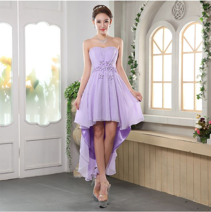 Chiffon Irregular Bridesmaid Dresses Strapless Wedding Gown Short Front Long Back Waist With Flowers Crystal Vestido Bandage-in … | Brides Maid Dresses | Pinterest | Dresses, Wedding gowns and Bridesmaid dresses