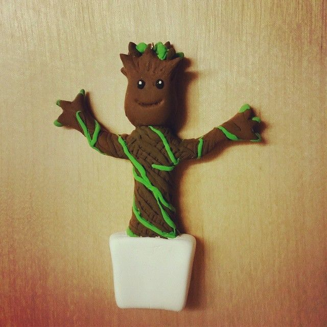Made a Baby Groot necklace  used jumping clay  #gotg #iamgroot  I am groot
