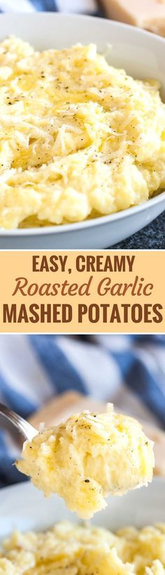 Roasted Garlic Mashed Potatoes are so flavorful and make an easy side dish for the holidays and family dinners! Loaded with roasted garlic and parmesan cheese these creamy mashed potatoes will surely become a dinnertime favorite. #mashedpotatoes #ThanksgivingRecipes #sidedish #potatorecipes #comfortfood