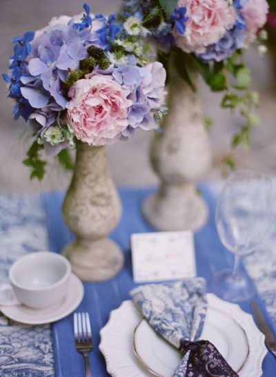 Purple, pink and blue table setting.  Lovely spring layout.