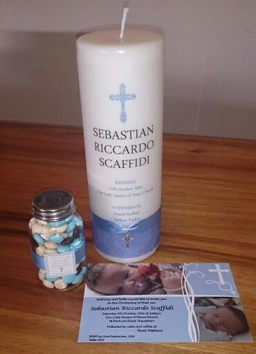 Boys christening candle, invitation and bonbonniere made to order by From Missy With Love www.frommissywithlove.com