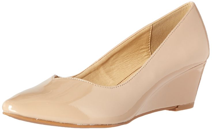 CL by Chinese Laundry Women's Tiara Patent Wedge Pump, New Nude, 7 M US. Pointed toe wedge pump with sweetheart topline.