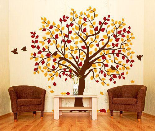 00688 Adesivo murale Wall Art Alberi - Autunno - Misure 196x160 cm - giallo scuro, marrone e bordeaux - Decorazione parete, adesivi per muro, carta da parati