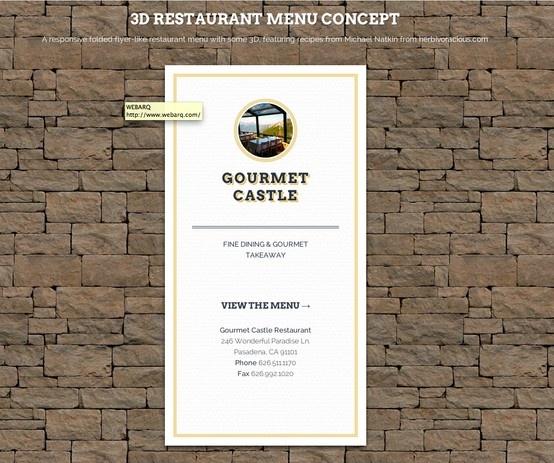 3D Restaurant Menu Concept