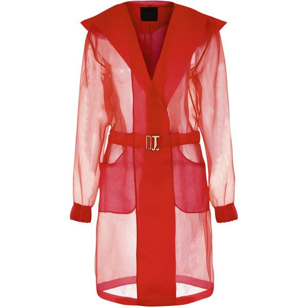 La Perla Esprit D'atelier Parka-Style Jacket (£650) ❤ liked on Polyvore featuring outerwear, jackets, coats, coats & jackets, red, red parkas, logo jackets, la perla, metallic jacket and red jacket