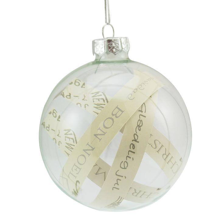 Julekule papir med tekst - Kremmerhuset