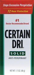 Certain Dri Antiperspirant Solid for Excessive Perspiration-1.7 oz by Certain Dri. $8.34. Provides 72 hour protection against excessive perspiration. The number 1 doctor-recommended brand. Certain Dri anti-perspirant solid stick. Certain Dri Antiperspirant Solid for Excessive Perspiration -- 1.7 oz.Created specifically to complete the line of Certain Dri antiperspirant products for those who want the same 72-hour protection from excessive underarm perspiration in a so...