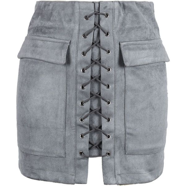 Gray Faux Suede Lace Up Front Pencil Mini Skirt ($35) ❤ liked on Polyvore featuring skirts, mini skirts, bottoms, bodycon pencil skirt, short skirts, body con skirt, grey pencil skirt and short mini skirts