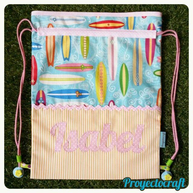 #mochilita de #guardería #personalizada para unos papis amantes del #surf #isabel #newborn #reciennacido #regaloespecial
