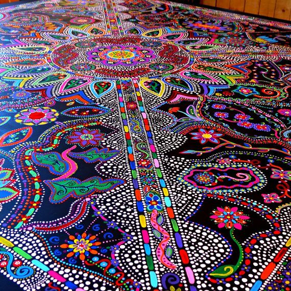 closeup of table -- Custom Handpainted Furniture by dannimacstudios on Etsy