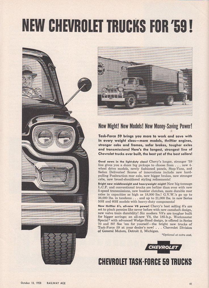 1958 Chevrolet Ad New Chevy Truck Models New Might Money Saving Power | eBay
