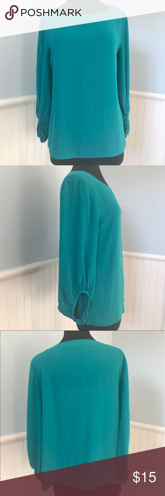 Ann Taylor Loft Teal Blouse size Medium Gorgeous teal color with blouson sleeves  Size Medium Ann Taylor Tops Blouses