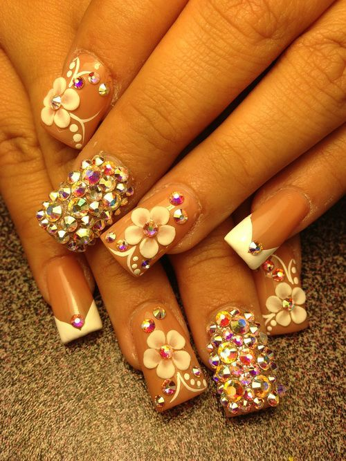 Glamour 3d Flower Nails Crystal Rhinestone And White Acrylic ...