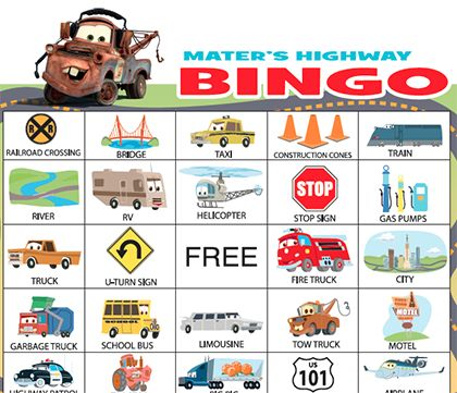"Hit the highway with Mater as you race towards calling ""bingo"" in this high-speed take on the classic game."