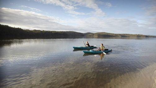 Kayaking on Gippsland Lakes, Gippsland, Victoria, Australia