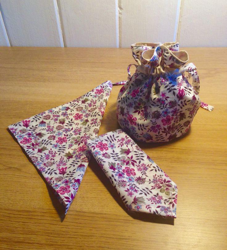 Little wedding bundle. 2 pocket squares and a flower girl, circular, drawstring, purple bag with beige lining. #Handmade #Homemade