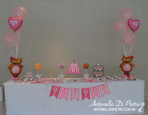 Deco con búhos para una beba. It´s a girl, buhos, lechuzas, owl, pink, ballon, babyshower, baby shower, bautismo, cumpleaños, birthday