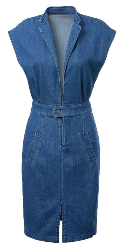 Blue Lapel Deep Plunge Open Belly Split Denim Bodycon Dress - Choies.com
