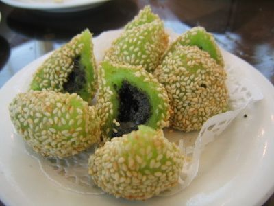 Green Tea Glutinous Rice Balls with Black Sesame Filling