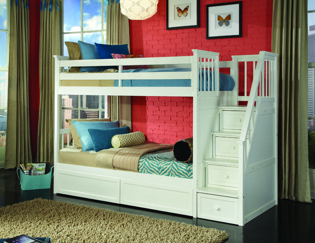 NE Kids School House Stair Bunk Bed White Kids bunk