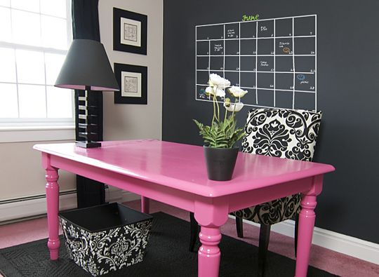 Love the pink desk and chalkboard wall!
