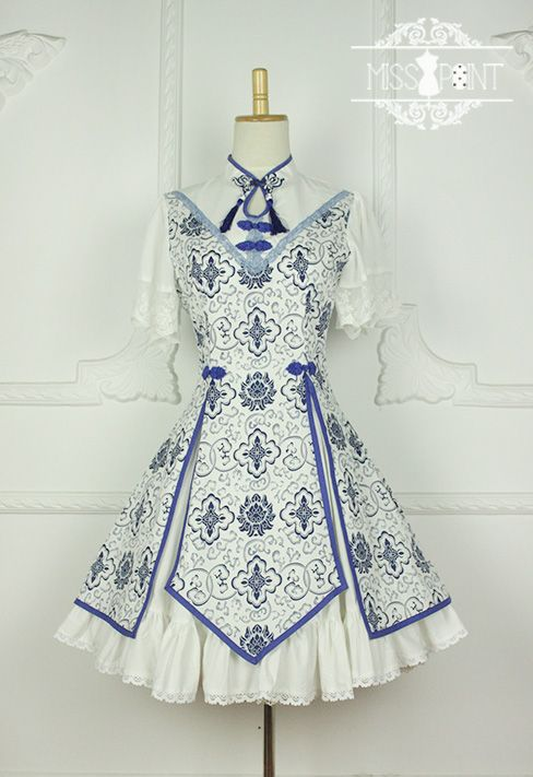 New Release: Miss Point ✣✤~Blue and White Porcelain~✣✤ Qi Lolita OP >>> http://www.my-lolita-dress.com/miss-point-blue-and-white-porcelain-qi-lolita-op-dress-yuan-114 ✂[Made-to-Measure]✂