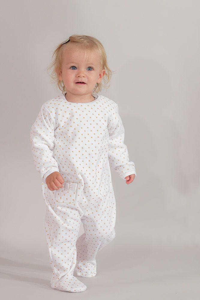 74c5ad66b4a2e Pyjama bébé fille - Pois dorés