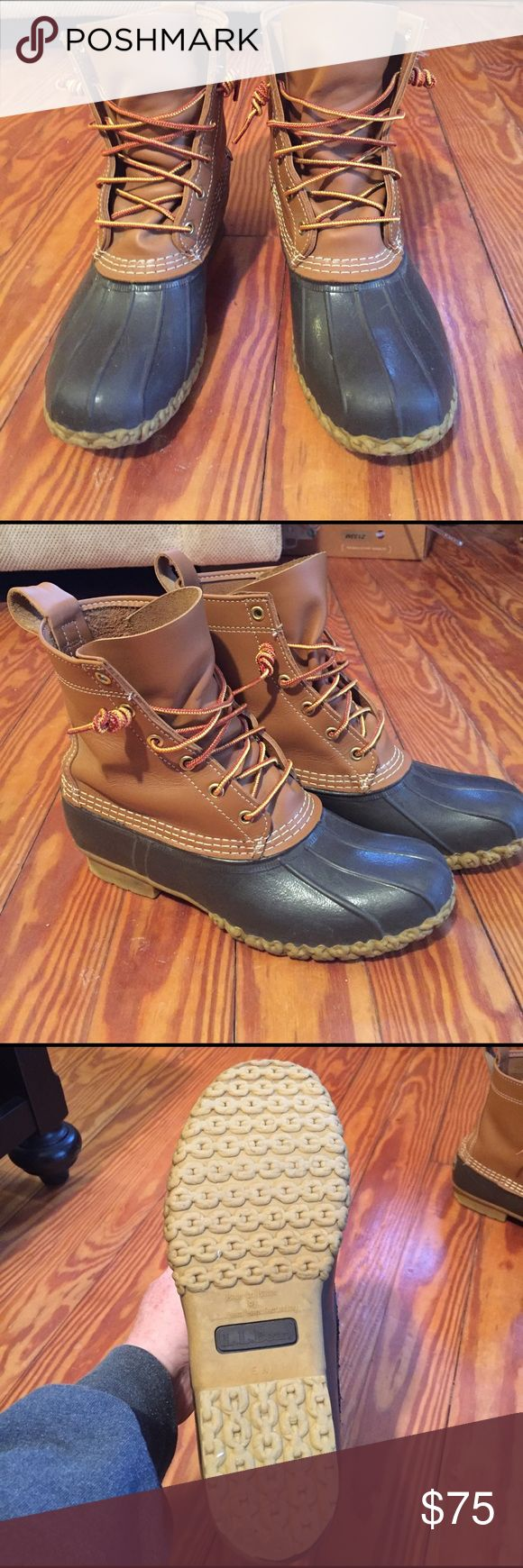 LL Bean boots Actually a men's 7 1/2 narrow. When I bought them they were sold out of women's 9's. the sales person recommended this as an alternative and they worked out great!  Worn only a handful of times.  Unlined. L.L. Bean Shoes Winter & Rain Boots