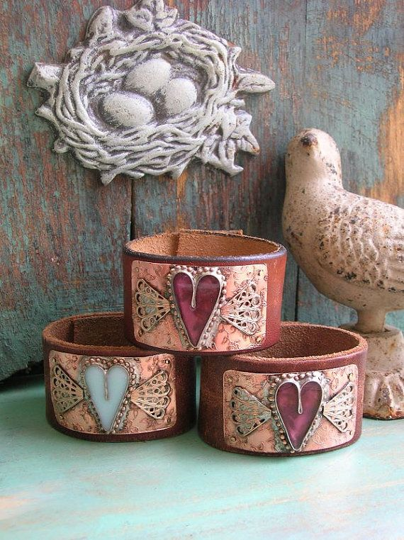 On SALE Winged heart leather cuff bracelet - Wild Heart - boho jewelry country cowgirl Valentines Day love, soldered jewelry pink bohemian