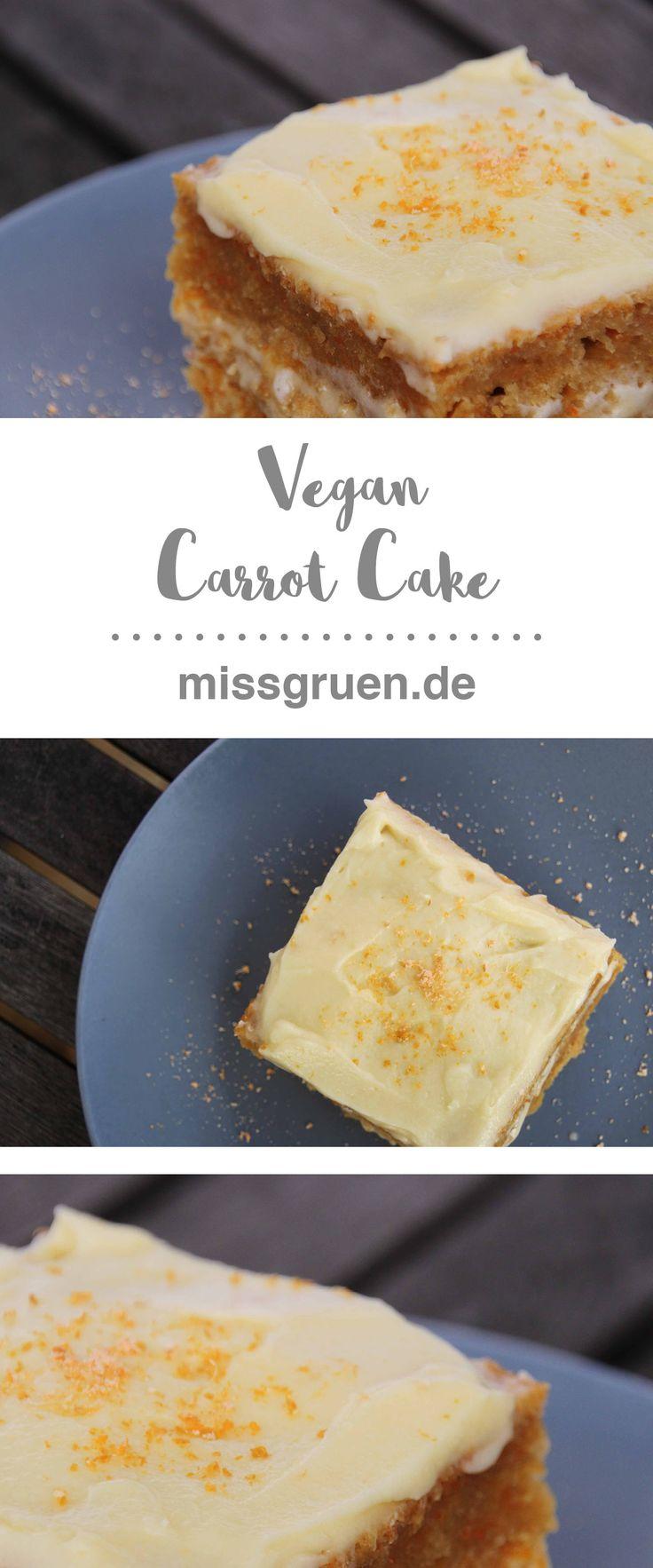 Vegan Carrot Cake Karotten Kuchen backen Rezept Torte Möhren veganer
