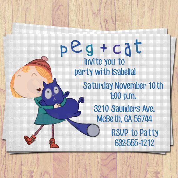 Peg  Cat Invitations Peg plus Cat Print at home by PrintedByMom, $12.00