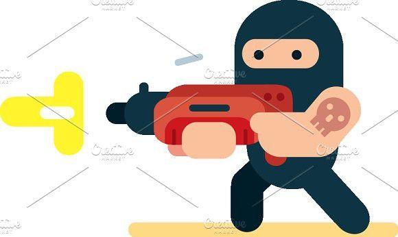 Flat Design Bank Robber Illustration #flatdesign