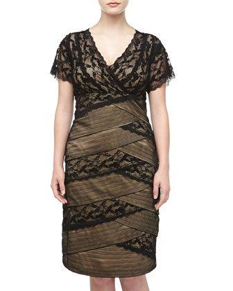 Marina Short-Sleeve Beaded-Lace Bandage-Wrap Plus Size Dress