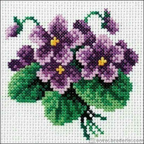 Wildflower violet cross stitch.