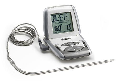 """Polder 307 Preset Thermometer, White by Polder. $34.99. Digital readout displays inner temperature of food while cooking. 43"""" probe wire allows for probe to reach safely out of oven. USDA food temperature chart included for guidelines for recommended meat temperatures. 6 meat and 4 """"doneness"""" settings allow for precise cooking. Presettable alarms let user set times for checking temperatures. Amazon.com                No longer guess about whether beef or poultry..."""