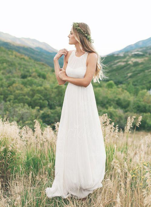 Wedding Dresses - $126.35 - Empire Scoop Neck Sweep Train Chiffon Wedding Dress With Ruffle (0025060291)