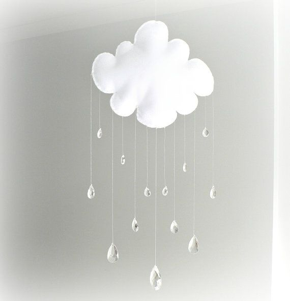Rain Cloud mobile baby mobile crystal mobile by LullabyMobiles