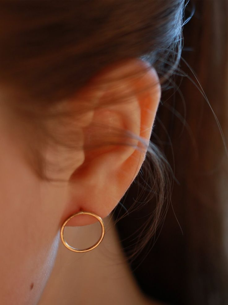 """Gold fill or sterling silver hammered 1"""" circle earrings"""