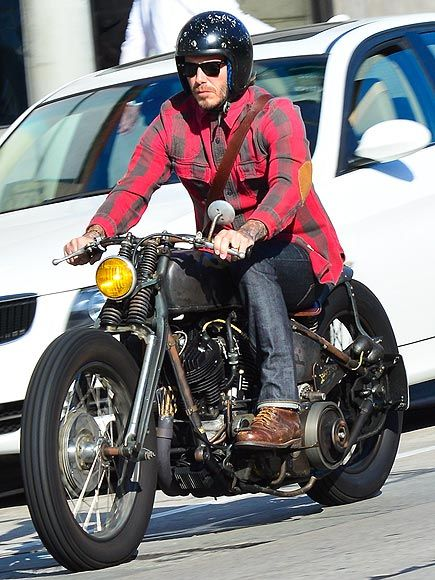 Rev your engines folks! David Beckham, in badass sunnies, cruised through West Hollywood on his crazy cool motorcycle!