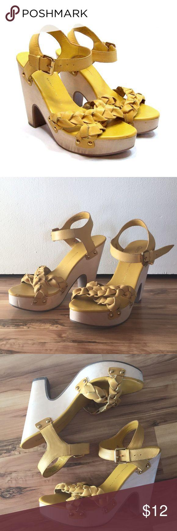 Gap Heels Mustard Gap block heels! Braided detail Used condition Some scuffs on heels (pictured) GAP Shoes Heels