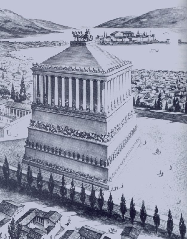 Mausoleum of Mausolos, one of The Seven Wonders of the Ancient World