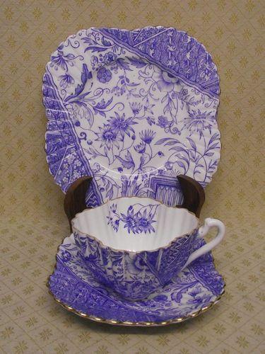 ♥•♥RARE SHELLEY / WILEMAN ART NOUVEAU ALEXANDRA DOLLY   VARDEN BLUE TEA TRIO c.1887  ♥•♥